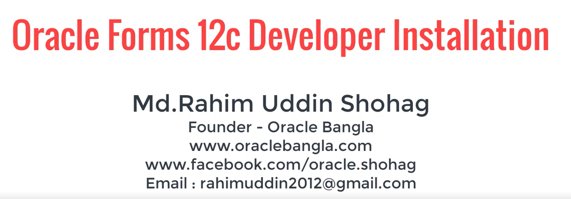 Oracle Forms 12c Developer Installation and Configuration
